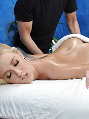 Cute blonde Roxxi is seduced and fucked hard by her massage therapist