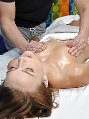 Cute 18 year old Carmen seduced and fucked hard during her free massage!