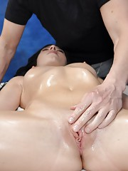 Hot and sexy brunette Nadia gets fucked hard from behind by her massage therapist
