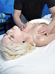Cute blonde Chloe is seduced and fucked hard by her massage therapist