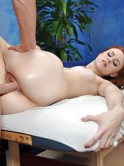 Cute redhead Sage is seduced and fucked hard by her massage therapist