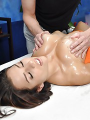 Cute 18 year old Rachel seduced and fucked hard after her free massage!