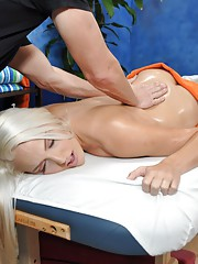 Cute blonde Macy is seduced and fucked hard by her massage therapist