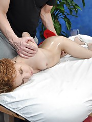 Cute 18 year old Mae seduced and fucked hard during her free massage!