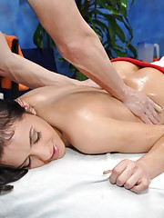 Cute 18 year old Melaine seduced and fucked hard after her free massage!