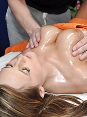 Cute Kymber seduced and fucked hard on a massage table