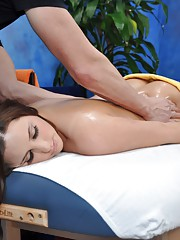 Cute brunette Hope seduced and fucked hard by her massage therapist