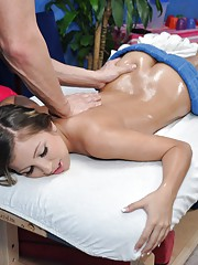 Sexy 18 year old brunette gets naked for her massage