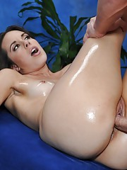 Hot brunette gets fucked hard from behind