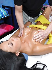 Sexy 18 year old brunette gets fucked hard from behind by her massage therapist