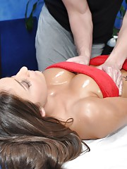 Hot and sexy 18 year old brunette gets fucked hard from behind by her massage therapist