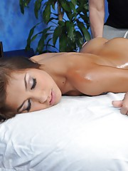 Gorgeous 18 year old Brunettte gets fucked hard from behind by her massage therapist