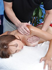 Sexy brunette gets fucked hard by her massage therapist