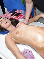 Cute 18 year old brunette gets a sensual massage and a hard fucking by her massage therapist!