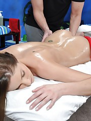 Watch as this 18 year old brunette gets fucks and sucks her massage therapist!