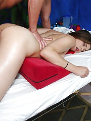 Sexy 18 year old brunette fucked hard and facialed by her massage therapist