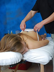 Beautiful exchange student fucked hard by her massage therapist