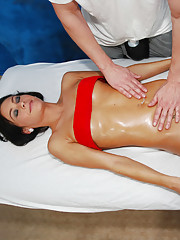 Sexy 18 year old brunette fucks her massage therapist