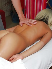 Super cute 18 year old blonde gets naked for her massage