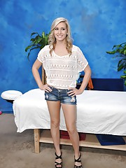 Sweet 18 year old blonde massage therapist Lilly gives a little more than a massage!
