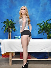 Cute blonde massage therapist Taylor gives a little more than a massage!