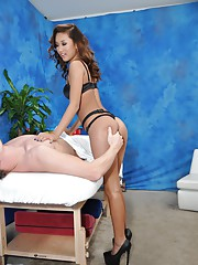 Sexy asian massage therapist Alina gives a little more than a massage!