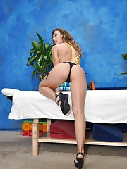 Sweet 18 year old massage therapist Callie gives a little more than a massage!