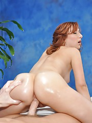 Beautiful redhead Melody fucks her massage client after a rub down