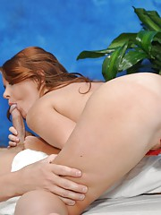 Sexy brunette massage therapist Ava gives a little more than a massage!