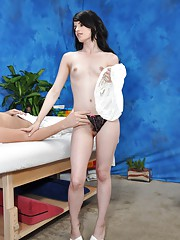 Naughty girl Heather fucks her massage client after a rub down