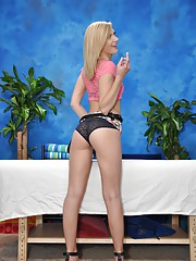 Naughty blonde massage therapist Chloe gives a little more than a massage!