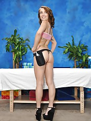 Sweet 18 year old massage therapist Carmen gives a little more than a massage!