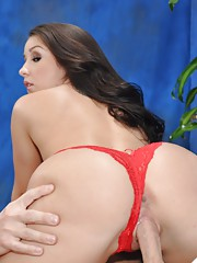 Sweet 18 year old brunette massage therapist Lola gives a little more than a massage!