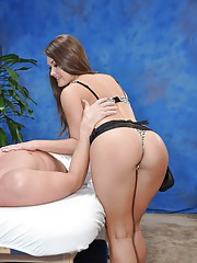 Naughty girl Abby fucks her massage client after a rub down
