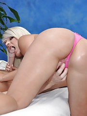 Cute 18 year old blonde massage therapist Tosh gives a little more than a massage!