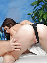 Naughty girl Alexis fucks her massage client after a rub down