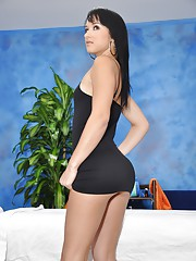 Cute 18 year old brunette massage therapist Mandy gives a little more than a massage!