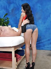 Sweet 18 year old brunette massage therapist Adrianna gives a little more than a massage!