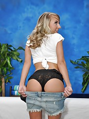 Sweet 18 year old blonde massage therapist Abbey gives a little more than a massage!