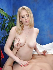 Cute 18 year old blonde massage therapist Allie gives a little more than a massage!
