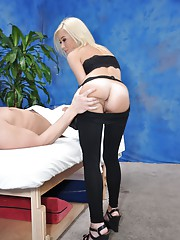 Cute 18 year old massage therapist Kaylee gives a little more than a massage!