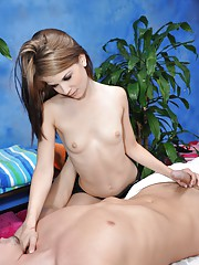 Cute 18 year old massage therapist Sensi gives a little more than a massage!