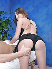 Cute 18 year old Jenna Rose seduced and fucked hard after her free massage!