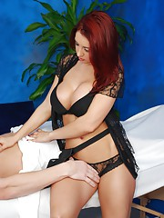 18 year old red headed beauty gives more than just a massage