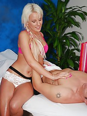 Sexy Blonde gives more than just massage!