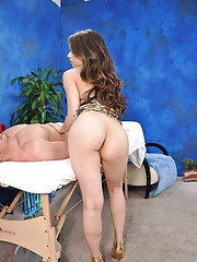Cute 18 year old brunette gives a sensual massage with a happy ending!