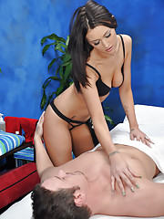 Hot and sexy brunette fucks and sucks her massage patient