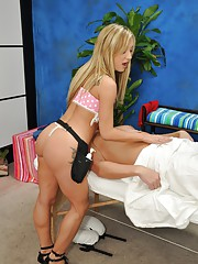 Sexy 18 year old blonde Amy gives a sexy massage followed by a special happy ending !