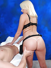 Hot and sexy 18 year old blonde gets fucked hard from behind by her massage therapist