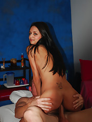 Sexy 18 year old brunette gets more than just a massage!